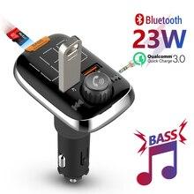 Meekerハンズフリーbluetooth fmトランスミッタusb急速充電器 3.0 bluetooth 5.0 fm変調器Mp3 低音ステレオ音楽プレーヤー