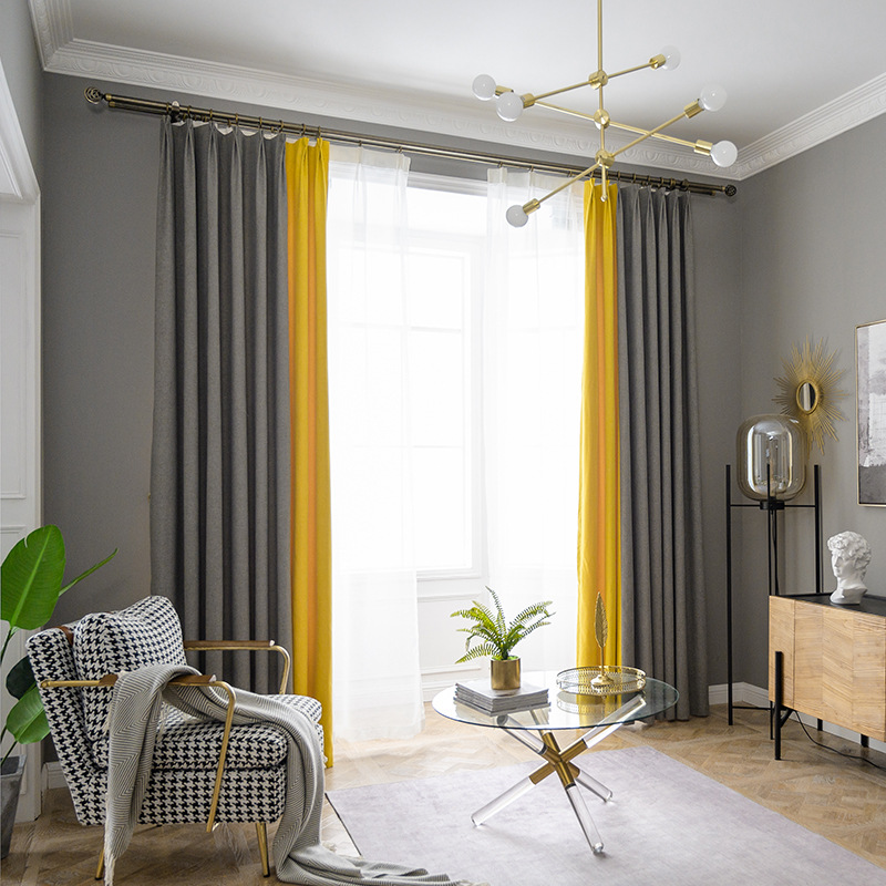 European Style Cotton Linen Curtain 80%~95% Shading Rate Blackout Living Room Curtains 2 Colors Mixted