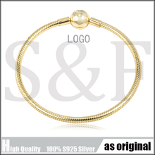 100% Pure 925 Sterling Silver Shine Moments Smooth Silver Bracelet With Ball Clasp fit Pan Charm Bracelets DIY Silver Jewelry цена и фото