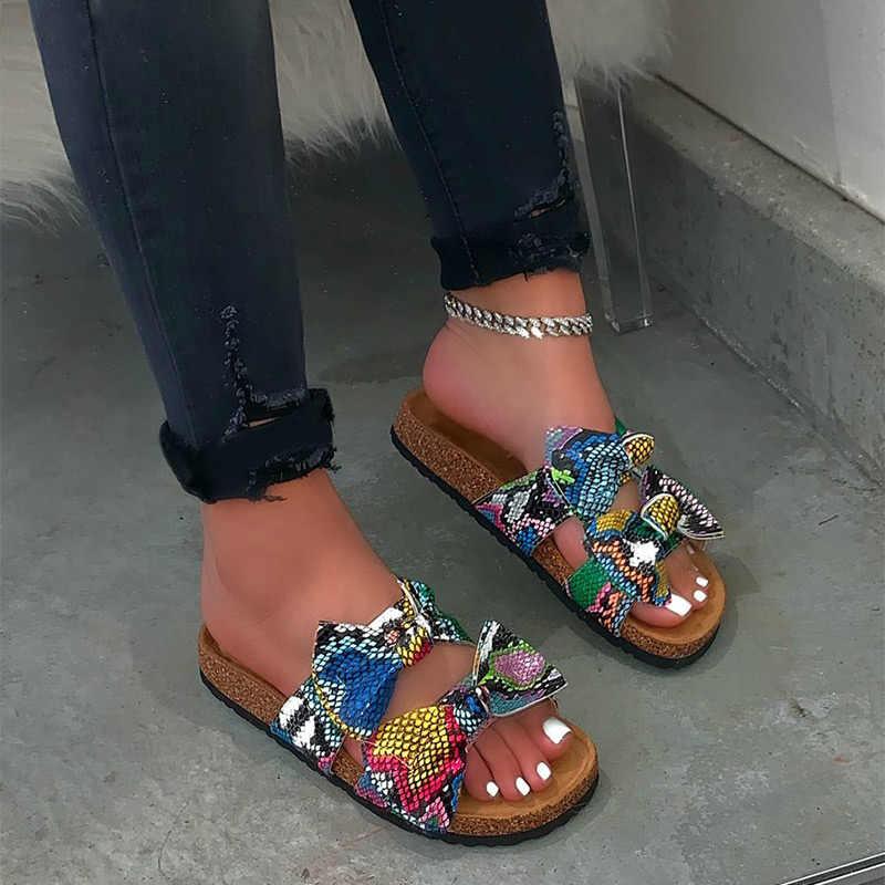 Летние босоножки; Женская обувь; Модные женские шлепанцы с леопардовым принтом и бантом; Повседневная женская обувь с открытым носком; Удобные женские Вьетнамки; 2020
