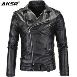 AKSR мужская кожаная куртка с воротником-стойкой, укороченная Повседневная приталенная куртка с Диагональной молнией в стиле панк, пальто из ...