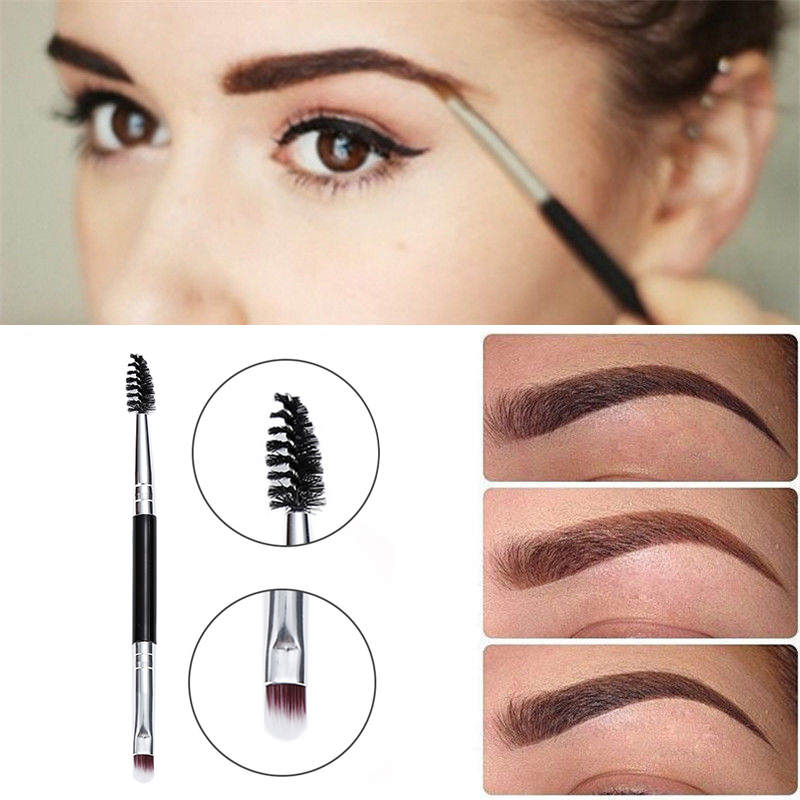 1pcs High Quality Durable Double Eyebrow Brush Soft Fur Waterproof Eyebrow Brush Easy To Carry Lightweight Makeup Tools TSLM1