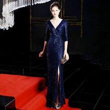 Novo vestidos longos vestidos de noite formal vestido de noite vestido de noite vestido de festa longo sereia vestido de noite árabe