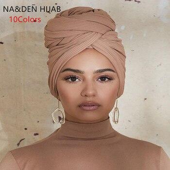 Islamic breathable hijab bandana Hi-Q basic Malaysia muslim headscarf Stretch ribbed jersey women muffler solid scarf 6 pcs\lot