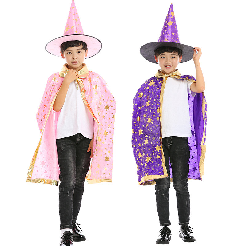 Halloween costume satin cape with hat for kids boys wizard girls witch cosplay