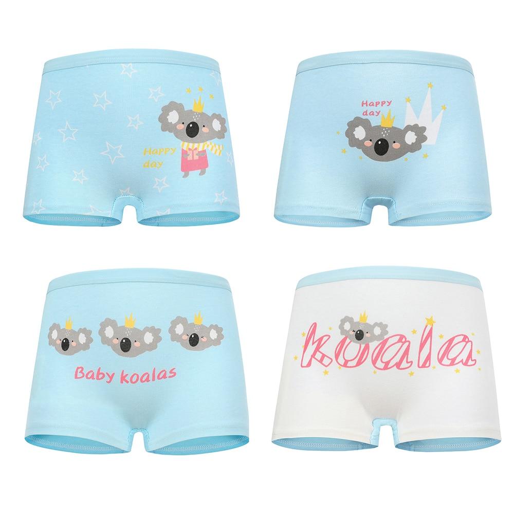 4 Pcs High Quality Pure Cotton Soft Children Underwear Girls Panties Cute Pattern Kids Boxer Briefs Child Girl Pants 2-12 Years 4