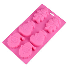 6 Holes Santa Claus Silicone Cake Baking Mold Cake Pan Muffin Cups Soap Moulds Biscuit Chocolate Ice Cube Tray DIY Mold Random 1pc random color honey comb bees mold beeswax silicone pan cake mould ice jelly chocolate mold diy cake decoration ok 0975