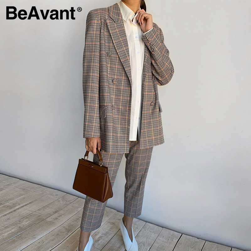 BeAvant Classic Plaid Casual Women Blazer Suits double breasted Fashion Blazers Coat Pants Sets Female Long Sleeve Office Jacket