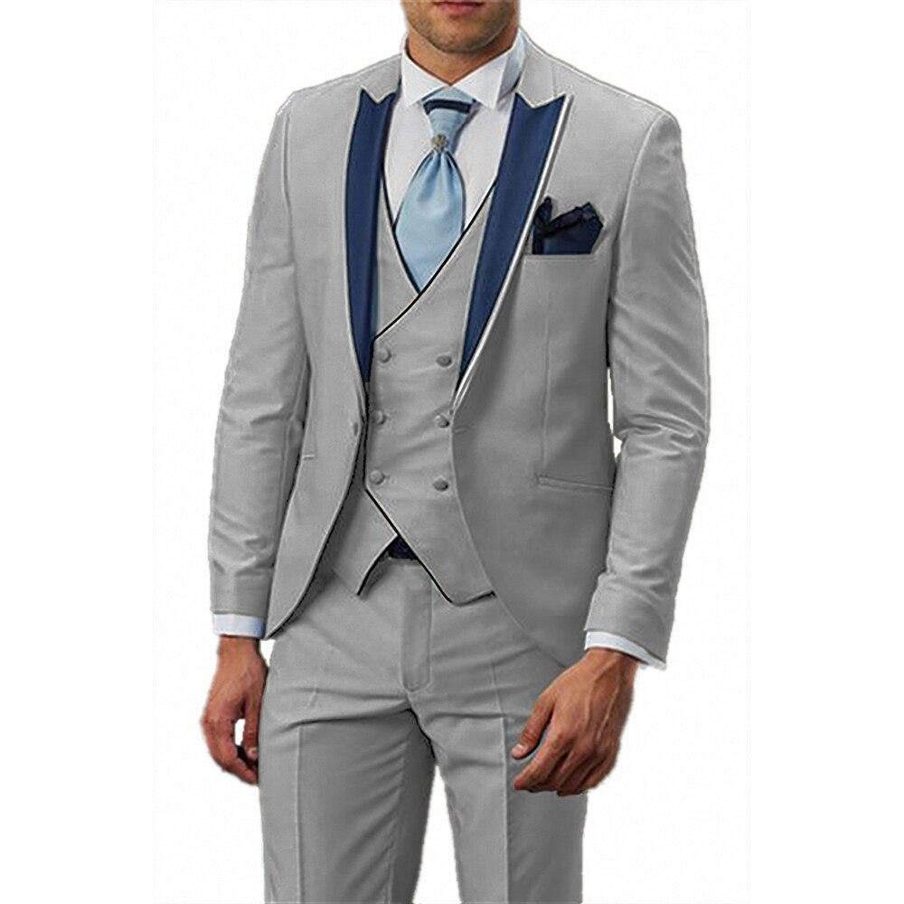 Premium Male Banquet 3 Pieces Tuxedo Suits For Tall Men Slim Fit Wedding Groom Dress Blazer Breasted Waistcoat Coat+Vest+Pants