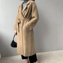 Новинка 2019, зимнее Свободное пальто, Женское пальто из искусственной норки, Женская Толстая Длинная вязаная куртка, пальто для офиса, Женское пальто NS1488