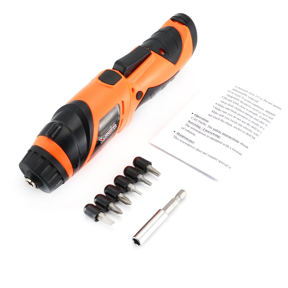X-power 6V Cordless Electric Screwdriver Bits Kit With LED Lighting Wireless Screw Power Driver Drill Power Tools