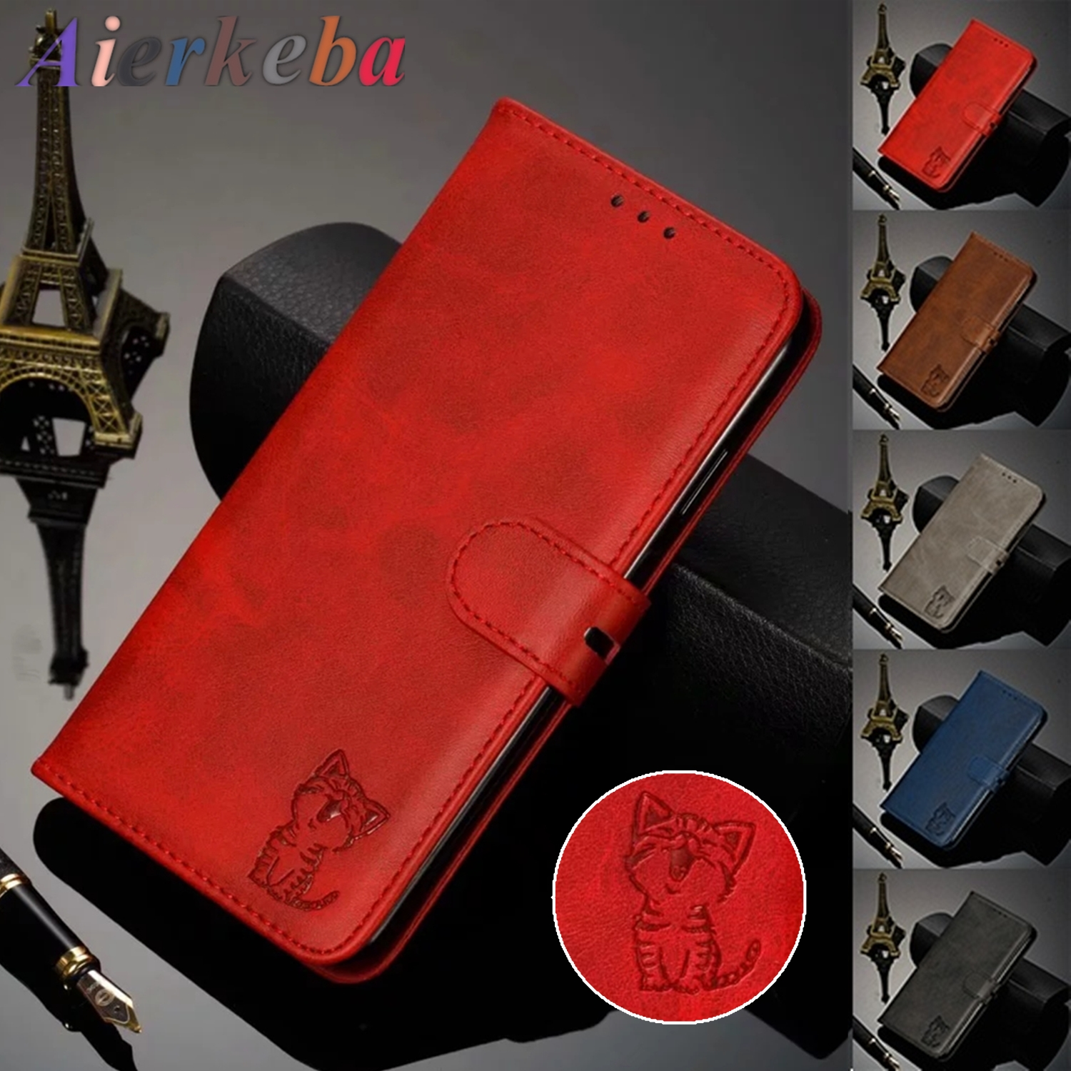 3D Embossing Cute Cat Flip Leather Case for Huawei Honor <font><b>20</b></font> P30 P20 <font><b>Mate</b></font> 30 <font><b>20</b></font> Pro <font><b>Lite</b></font> Y7 2018 Y9 Y6 Y5 2019 8x 8s Wallet Cover image