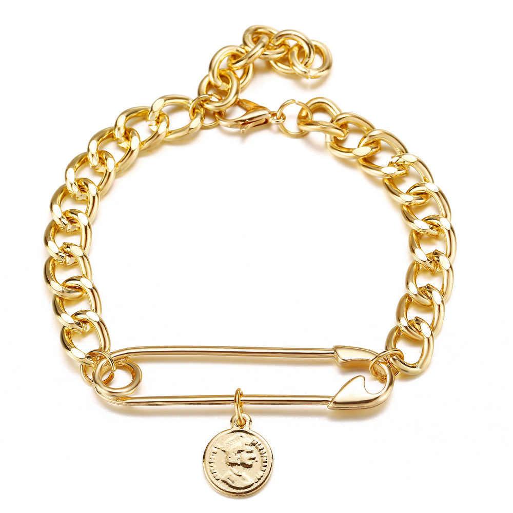 Vàng Liên Kết Dây Chuyền Vòng Tay Cho Nữ Vàng Kim Băng An Toàn Vòng Coind Mặt Dây Chuyền Vòng Tay Vòng Tay Nữ Thời Trang Braclets 2019
