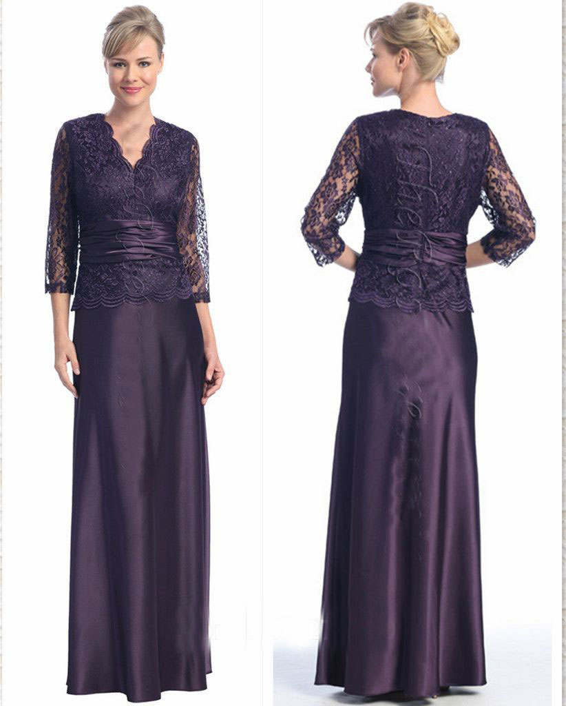 New Style 2015 Luxury mother of the Bride Dresses all Lace Dress Floor Length Three Quarter Sleeves Special Occasion Party Gowns