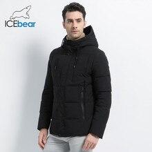 ICEbear 2019 nuovo inverno parka di marca di modo del rivestimento degli uomini di modo semplice con cappuccio cappotto in maglia del polsino di disegno del maschio giacche MWD18926D