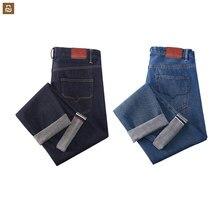 Youpin dmn clássico vermelho orelha jeans elasticidade confortável respirável masculino negócios casual viajante cor sólida jeans