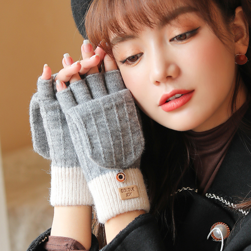 FRALU autumn and winter knitted  gloves ladies outdoor windproof warmth fingerless flip cover all-match woolen gloves