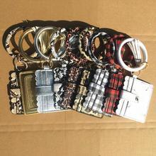 10pcs Solid PU Bracelet Keychain Snake Bracelet Card Purse Plaid Wristlet Card Holder Animal Print Keychain Wallet DOM1061575