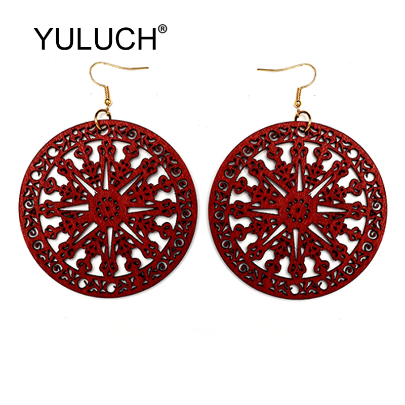 YULUCH Female Vintage Earrings For Women Fashion Jewelry 2019 Ethnic African Red Black Hollow Personality Big Pendant Earrings