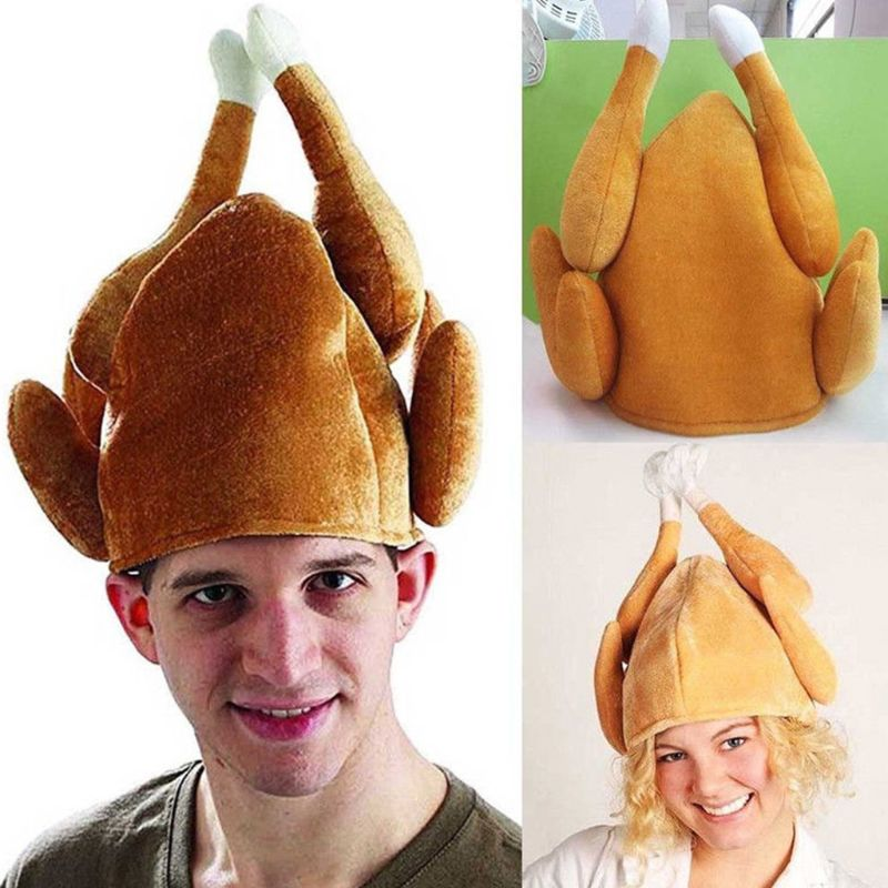 Creative Funny Adults Roasted Turkey Hat Plush Velvet Thanksgiving Halloween Cap For Festival Holiday Cosplay Party Costume
