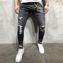 Men Stretchy Ripped Jeans Skinny Biker Embroidery Print Jeans Destroyed Hole Taped Slim Fit Denim Scratched Jean Popular(China)