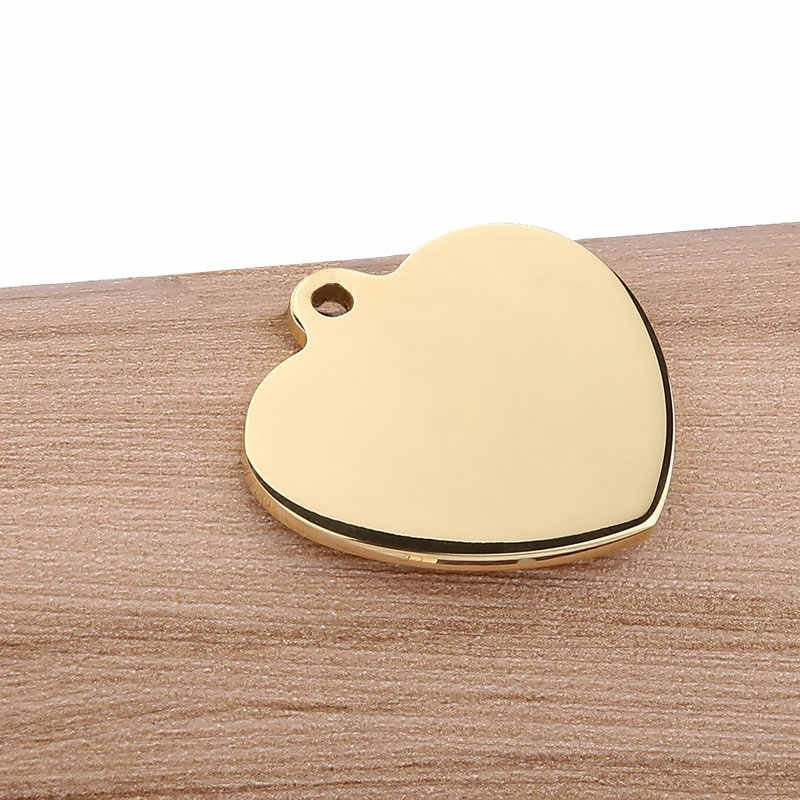 100x Metal Heart Tags Pendant Stamping Blank Engraving Charms DIY Jewelry Making