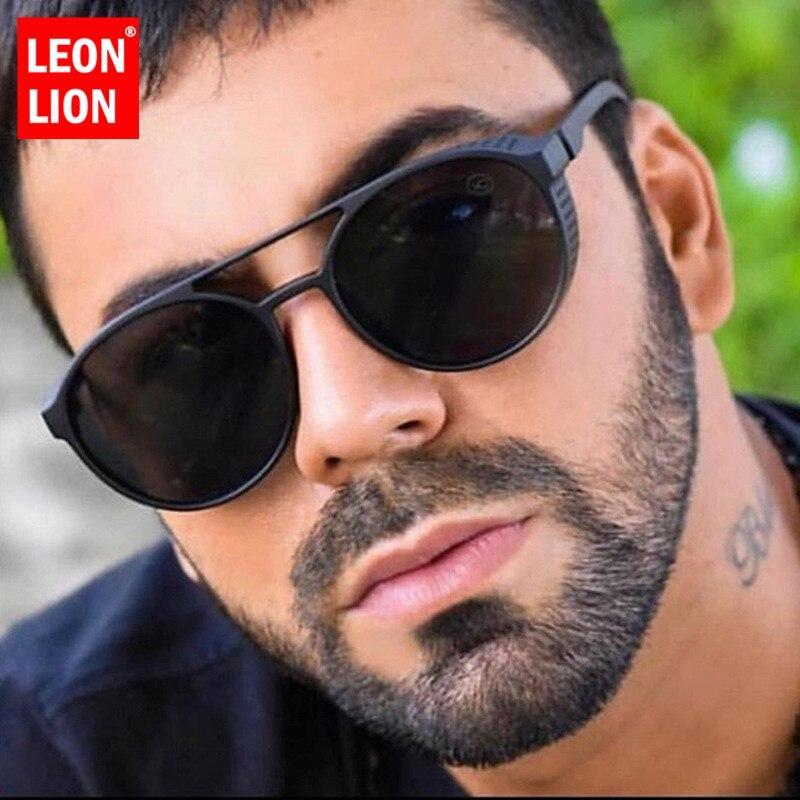 LeonLion 2019 Punk Retro Sunglasses Men Brand Designer Sunglasses Men Designer Glasses for Men Punk Lunette Soleil Homme UV400