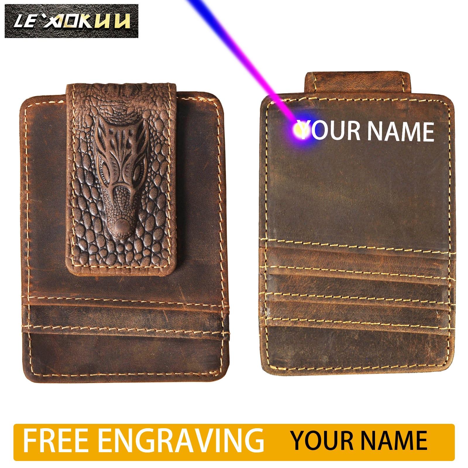 2020 Original New Cattle Men Male Vintage Leather Card Holder Case Magnet Money Clip Slim Mini Handy Pocket Wallet Purse 1058-d