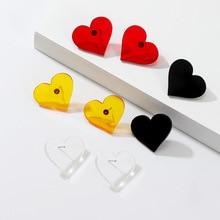 2019 New Stud Earrings For Women Trendy Casual Simple Sweet Small Heart-Shaped Joker Acrylic Stud Earrings Female simple heart stud earrings
