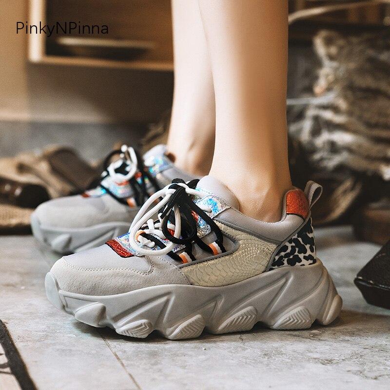 Design futuriste femmes plate-forme baskets en cuir véritable maille bing couleur mixte jeune ladeis vacances chaussures décontractées grande taille