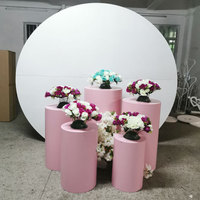 grand event stage wedding baby party backdrops metal props circular column cylindrical dessert table flower balloon crafts arch