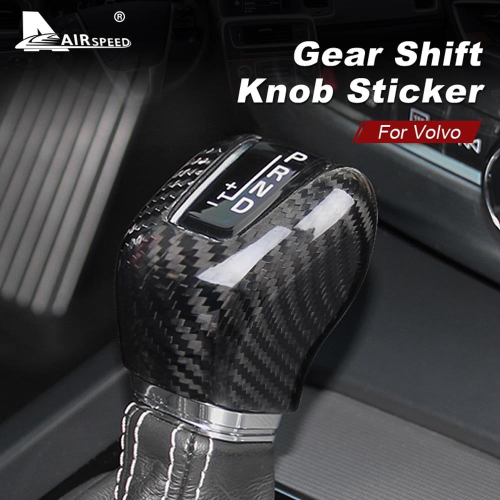 AIRSPEED para Volvo XC60 XC90 S60 V60 S90 V90 S80L V40 accesorios fibra de carbono pegatina coche tapa de pomo de cambio de marchas Interior ribete