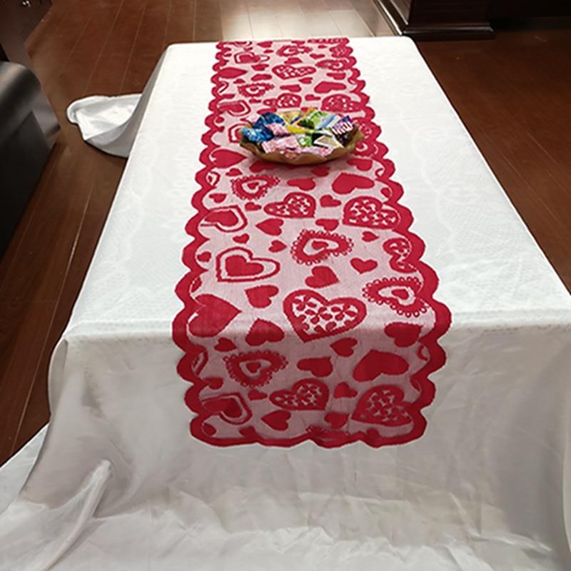 Красная скатерть сердце свадебный ужин банкет украшение дома День Святого Валентина кружевной стол флаг украшение