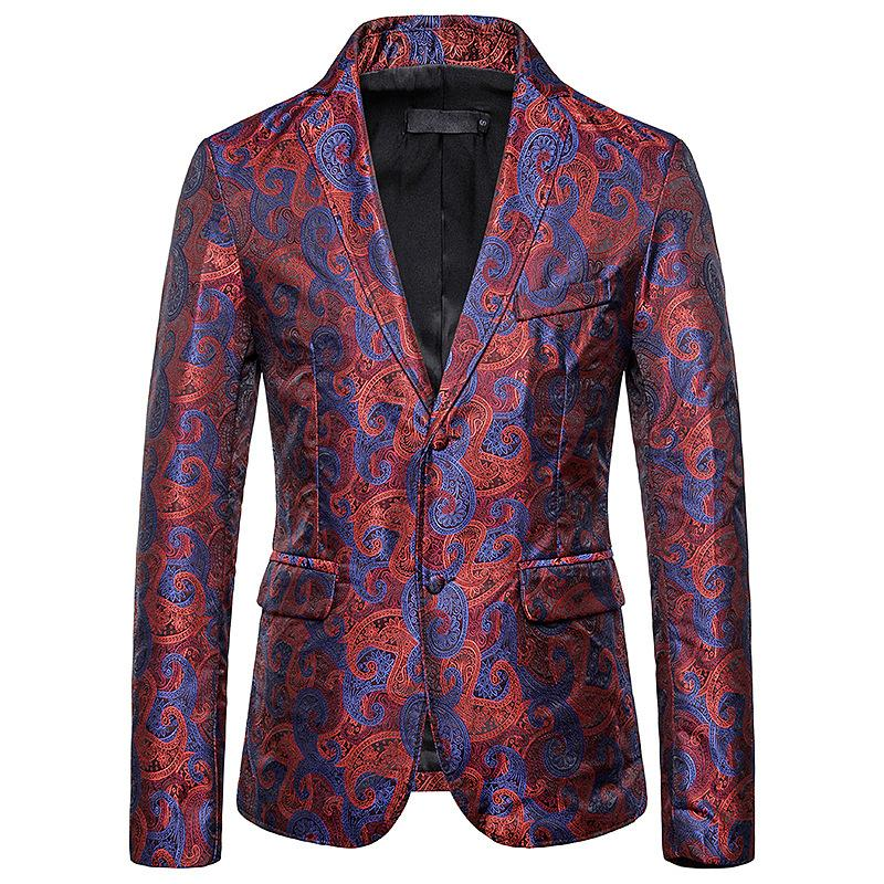 Men's Blazers And Suit Jackets Men Clothes Slim Fit Fashion Embossing Mens Blazer Jacket New Red Black
