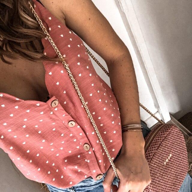 2021 mujeres Sexy Polka Dot blusa elegante camisa cuello en V botón sin mangas, Tops de verano, 2XL de las señoras de la moda ropa de calle Chic Top blusa 3