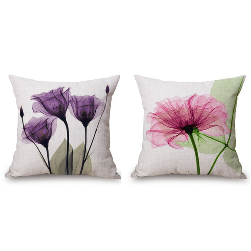 Promotion! 2pcs 45x45Cm Modern Ink Painting Flower Flax Throw Pillow Case Waist Cushion Cover   Pink + Green & Purple|Pillow Case| |  - title=