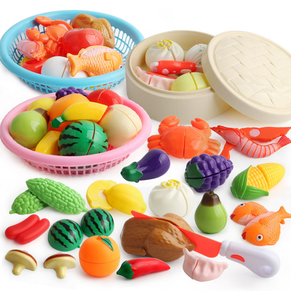 Girl's Pretend Play Food Toy Ghildren's Simulation Kitchen Toy Cutting Vegetabls Fruit Food For Dolls Snack Cake Seafood Toys