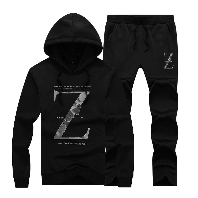 2019 New Style MEN'S Casual Suit Spring And Autumn Sports Set Two-Piece Set Youth Hoodie Suit Men's Hooded Pullover
