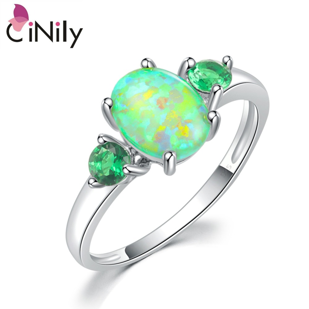 CiNily Olive Green Fire Opal Quartz Stone Rings Silver Plated Finger Ring Natural Minimalist Spring Jewelry Gifts Women Girls