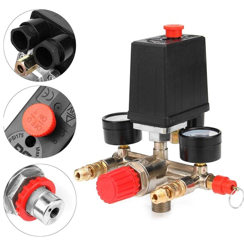 1PC 90-120Psi Air Compressor Pressure Switch Control 240V 20A Valve Manifold Regulator Pressure Gauge Air Pump Accessories Tool