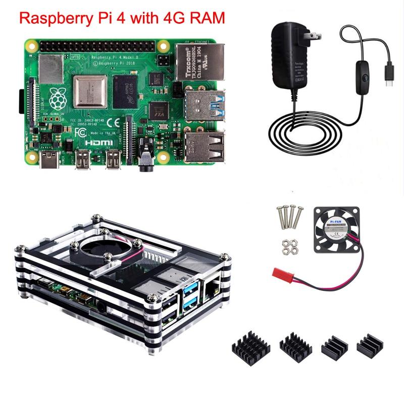 Raspberry Pi 3 Model B Case with Cooling Fan Heatsinks Optional Power Adapter