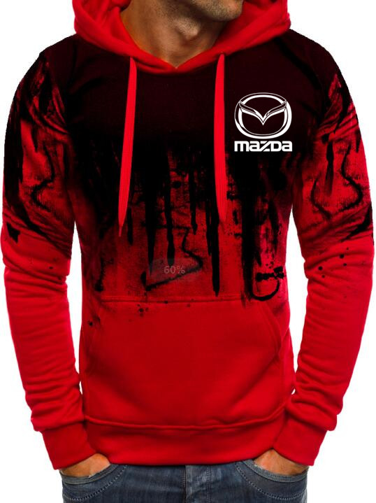 Free Shipping High-quality New Hoodies Men Mazda Car Logo Print Casual HipHop Gradient Color Hooded Mens Fleece Sweatshirts Man
