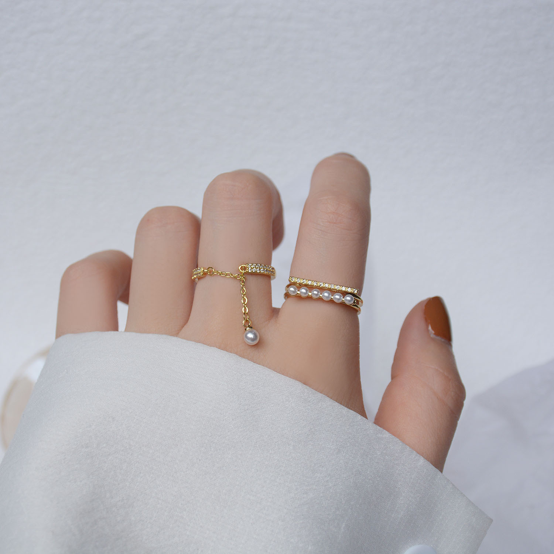 2021 kore yeni barok inci parmak yüzük zarif kadınlar için yaratıcı geometrik parti aksesuarları moda takı hediyeler Dropship