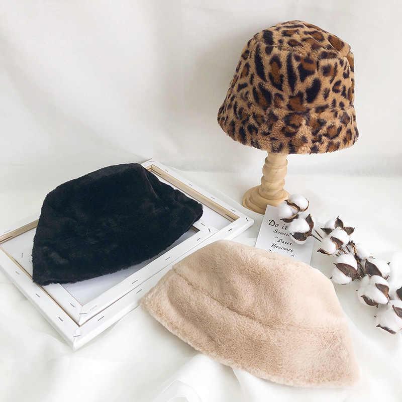الخريف الشتاء النساء فرو الأرنب الصناعي ليوبارد قبعة بحافة السيدات سميكة الدافئة في الهواء الطلق السفر صياد قبعة المخملية بنما الفتيات بوب