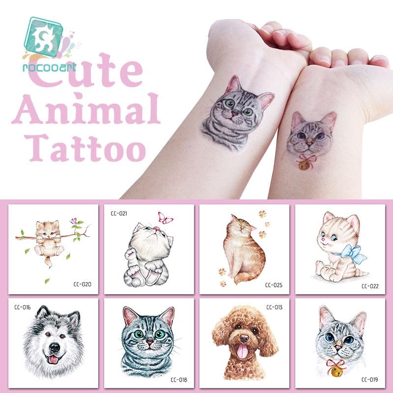 Rocooart Cat Temporary Tattoo Sticker Watercolor Animals Tattoos For Women Body Art Child Girls Hand Fake Tattoo 6x6cm