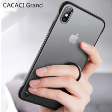 Frameless Transparent case for iphone 7 8 6s 6 plus X slim matte Hard XS MAX XR Ultra thin with Finger Ring etui