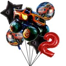6 pçs chama e as máquinas folha ballon feliz aniversário decoração da festa bola menino presente tanque ônibus fogo carro balões de férias