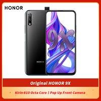 Honor-teléfono inteligente 9X Original, pantalla completa de 6,59 pulgadas, 6GB, 64GB, Kirin 810, ocho núcleos, cámara frontal emergente, desbloqueo con huella dactilar de 16MP