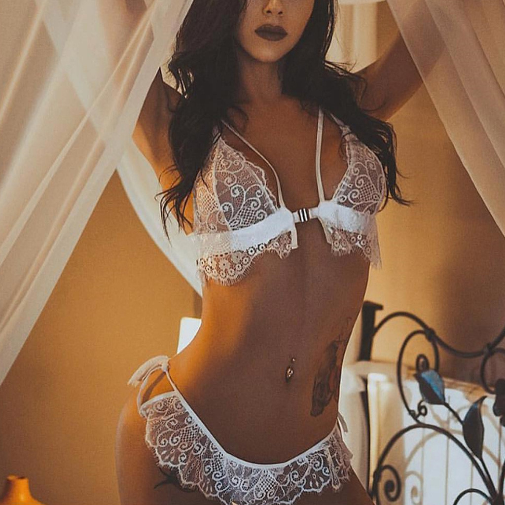 Sexy Costumes Women Erotic Lingerie Transparent White Lace Baby Doll Set Sexy Porno Lingerie Underwear Sexy Apperal Set
