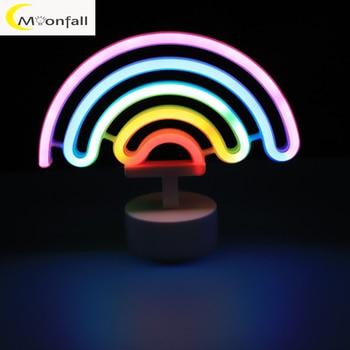 Cmoonfall-luces led de neón de colores, lámparas de noche para mesa, lámpara...